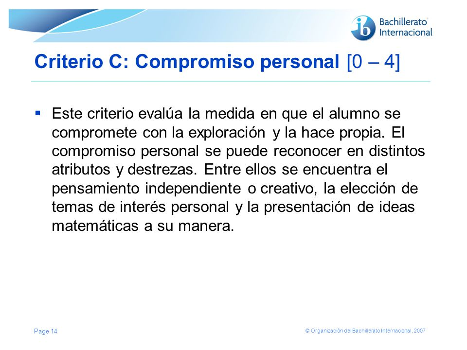 Criterio C: Compromiso personal [0 – 4]